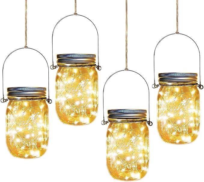 Starlite Solar Blue Mercury Glass Mason Jar Lights Lantern Hanging Table Decor