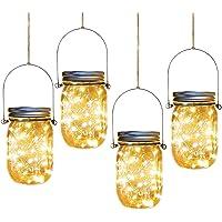 Solar Mason Jar Lights,4 Pack 30 Led Starry Fairy String Hanging Jar Lights,Solar Lanterns for Outdoor Patio Party…