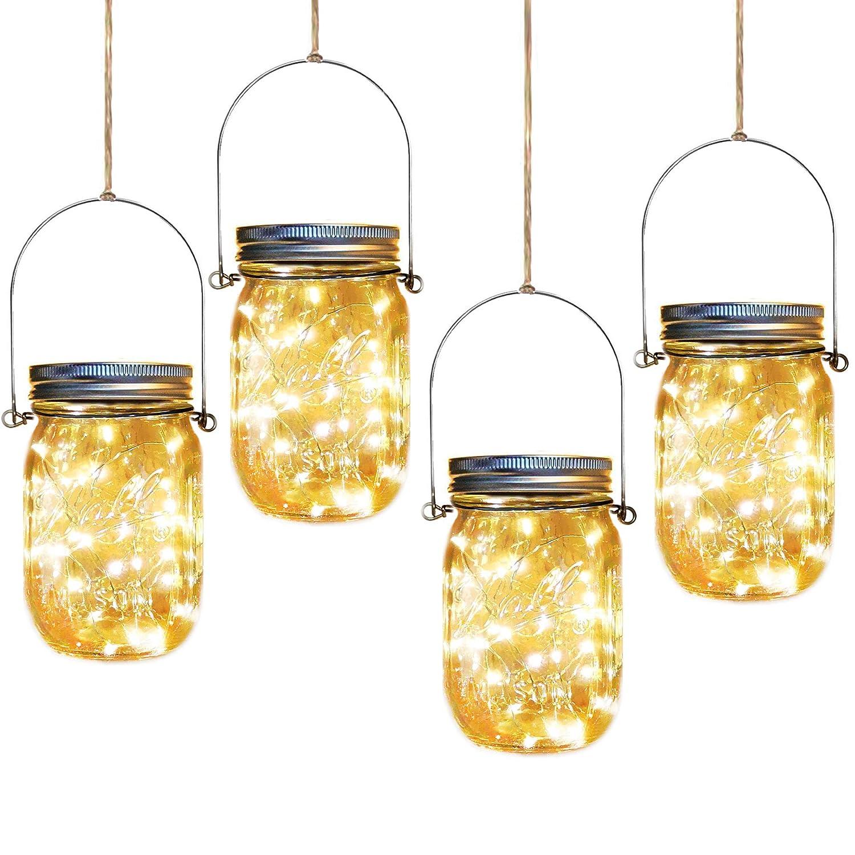 Solar Mason Jar Lights,4 Pack 30 Led Starry Fairy String Hanging Jar Lights,Solar Lanterns for Outdoor Patio Party Garden Wedding Christmas Decor Lights(Mason Jars/Handles Included)