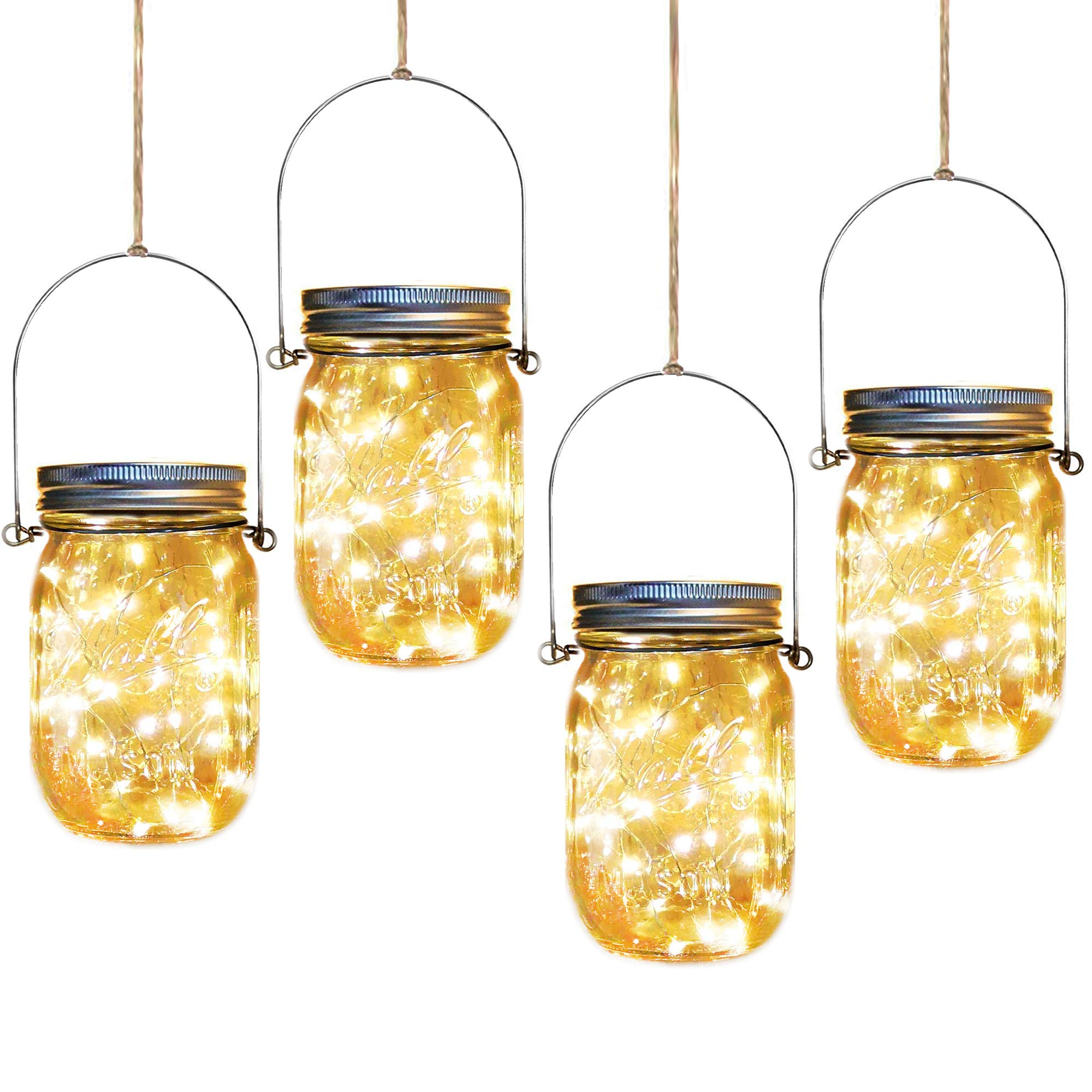 Solar Mason Jar Lights,4 Pack 30 Led Starry Fairy String Hanging Jar Lights,Solar Lanterns for Outdoor Patio Party Garden Wedding Christmas Decor Lights(Mason Jars/Handles Included)