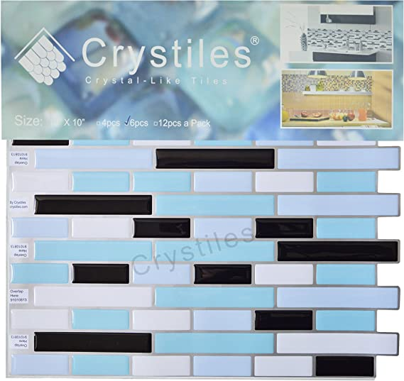 "6 Sheets Pack Item# 91010813 Crystiles Peel and Stick Self-Adhesive DIY Backsplash Stick-on Vinyl Wall Tiles for Kitchen and Bathroom D/écor Projects 10/"" X 10/"" Each"