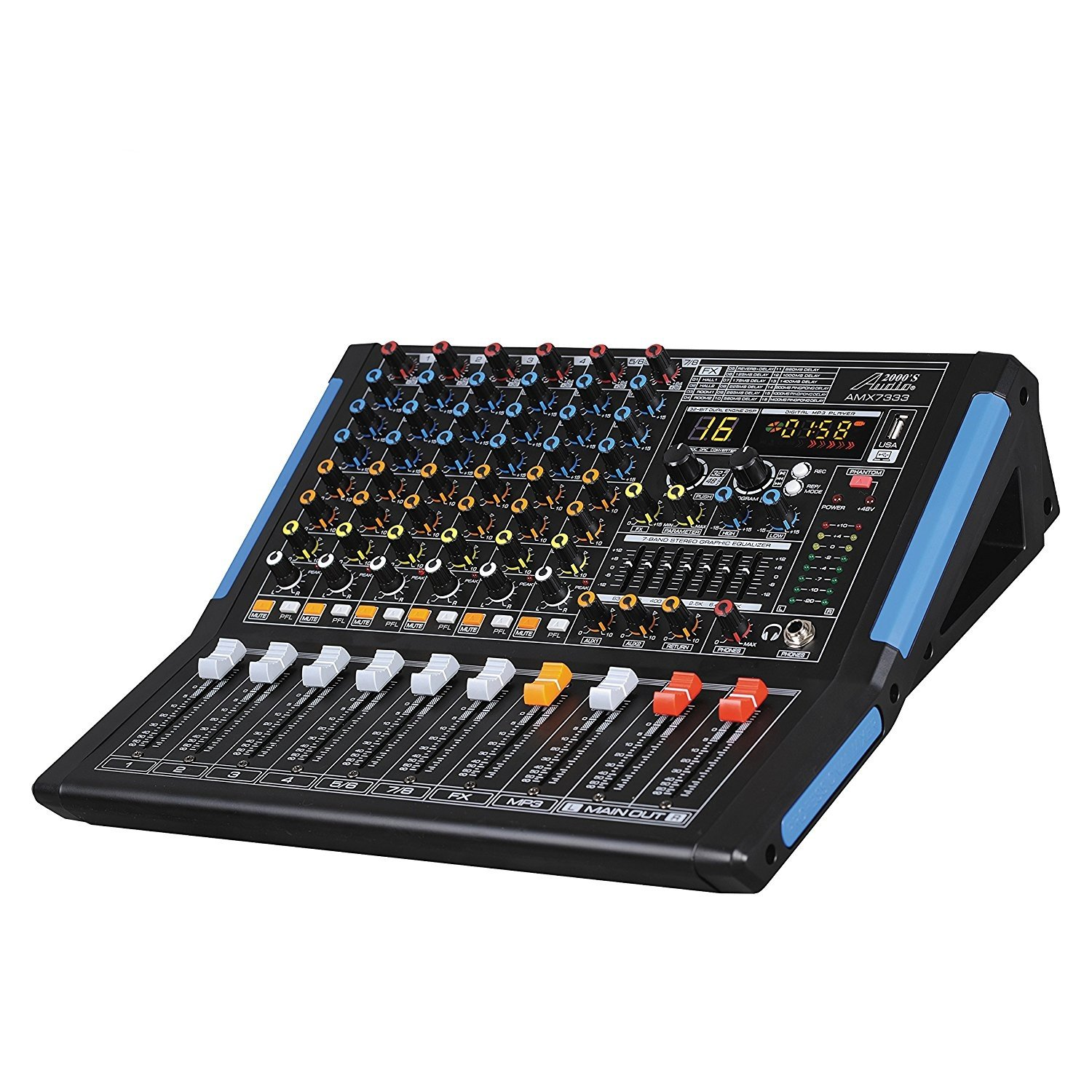 Audio 2000s AMX7333UBT 8-Channel Audio Mixer Sound Board with USB Interface and Bluetooth