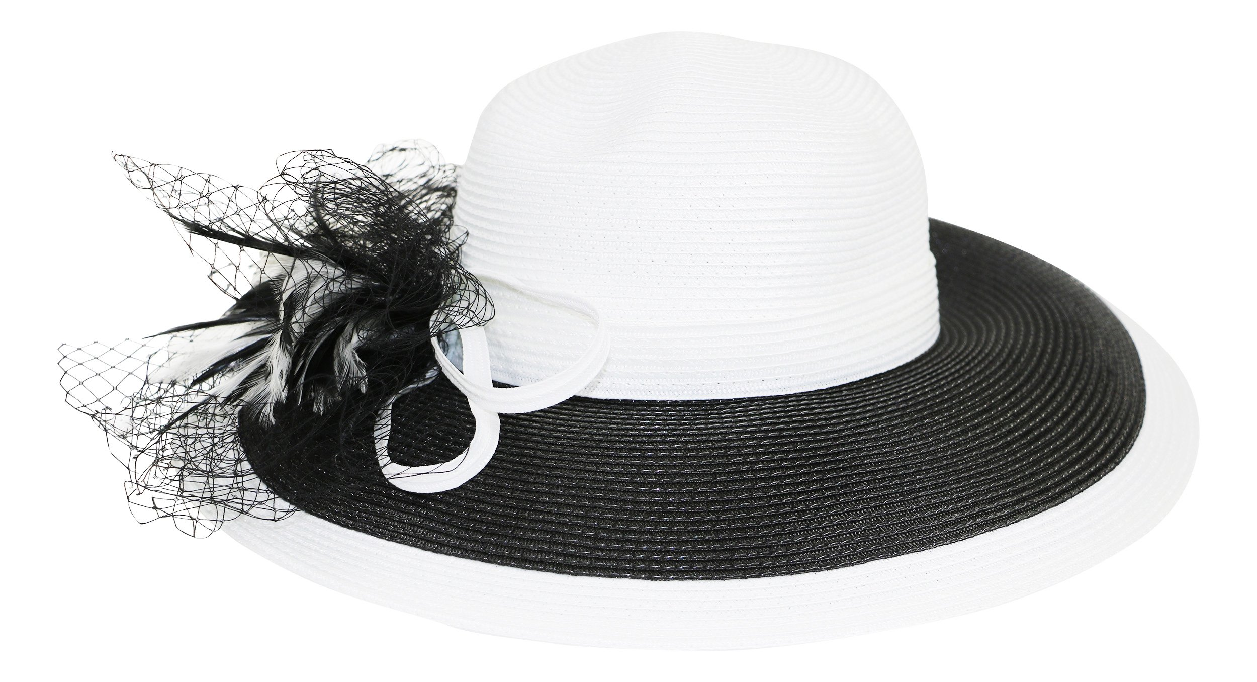 Fine Millinery by August Hat Co Adjustable Wide Brim Freesia Feather Sun Hat (White/Black, One Size)