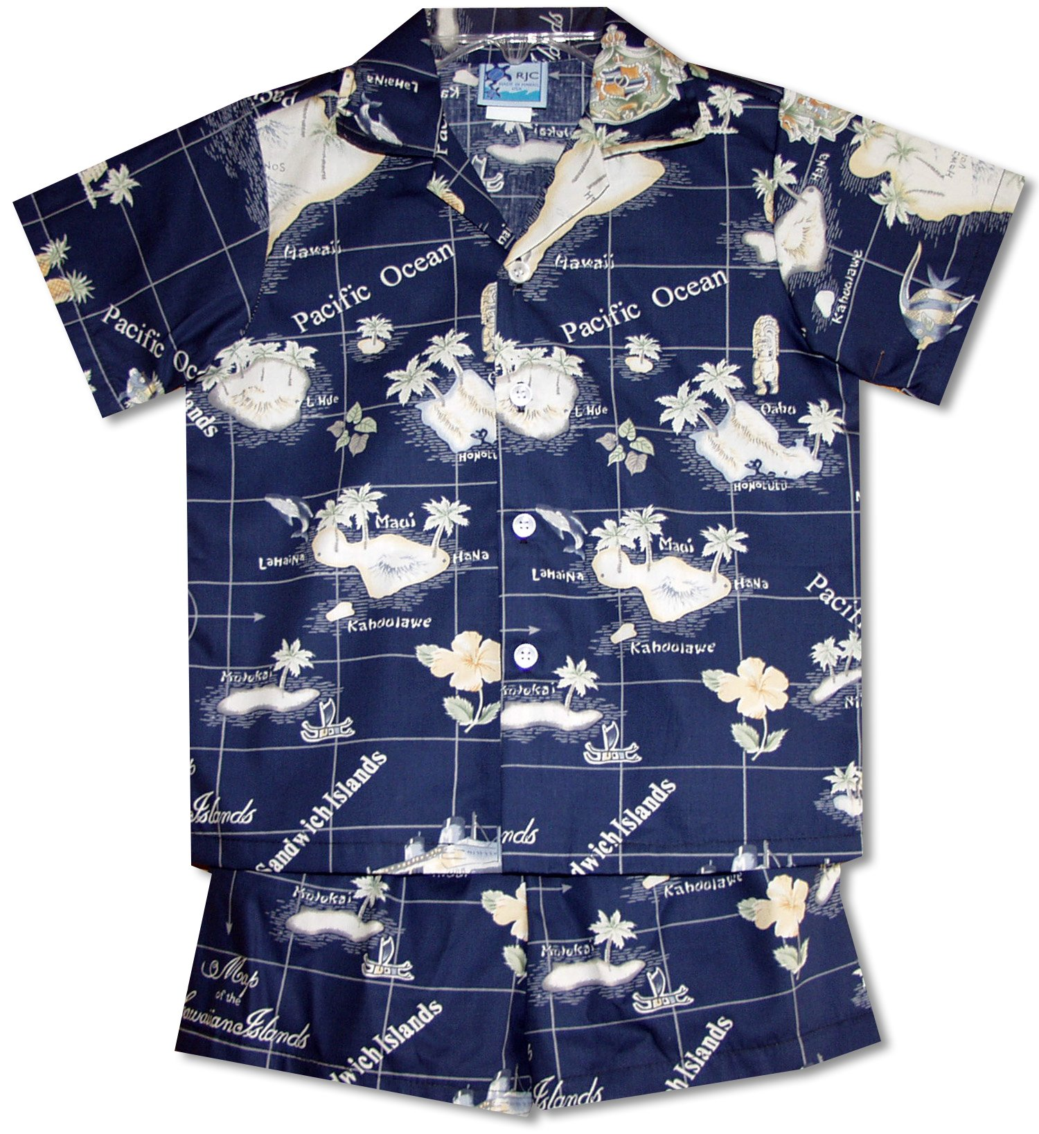 RJC Boys Hawaiian Island Paradise 2pc Set in Navy Blue - 18 Months