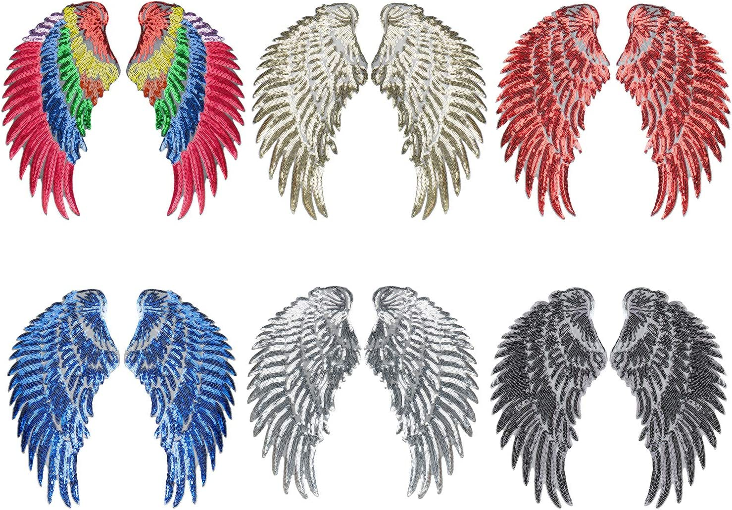 2x Embroidered iron on patches for clothes Wing design sequins Motif Applique AY