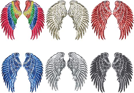 1 Pair Chic Stylish Wings Patch Crafts Trims DIY Clothes Accessories Silver//Gold