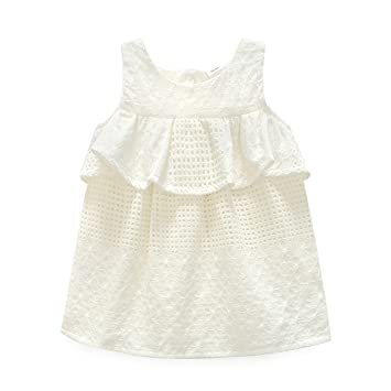 9ddade65d5d2 Amazon.com   NOMSOCR Infant Baby Girls Summer Sleeveless Ruffle ...