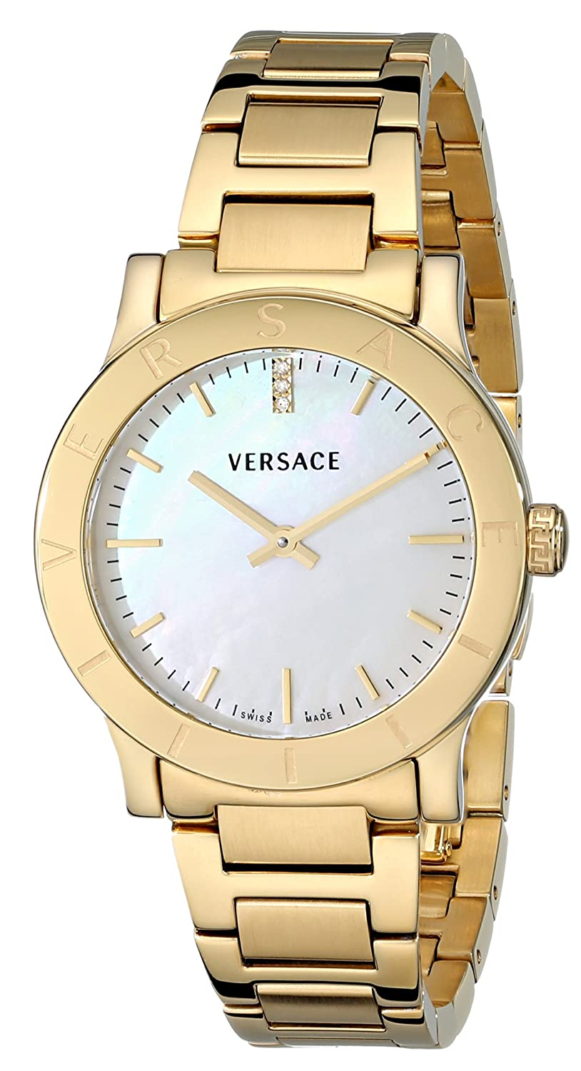 Versace Women s VQA050000 Acron Diamond-Accented Gold-Plated Watch
