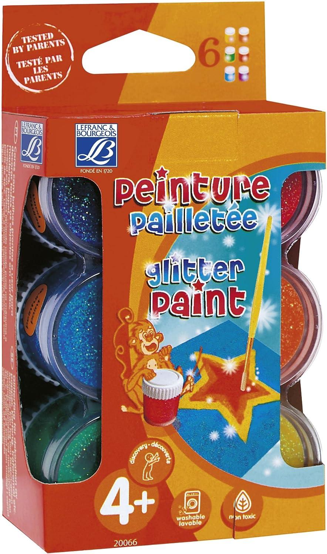 Lefranc & Bourgeois - Pack de gouache con purpurina, 6 tarros de 22 ml: Amazon.es: Juguetes y juegos