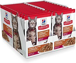 Hill's Science Diet Adult Canned Wet Cat Food Variety Pack, Turkey & Liver Casserole, 2.8 oz, 24 pk, White