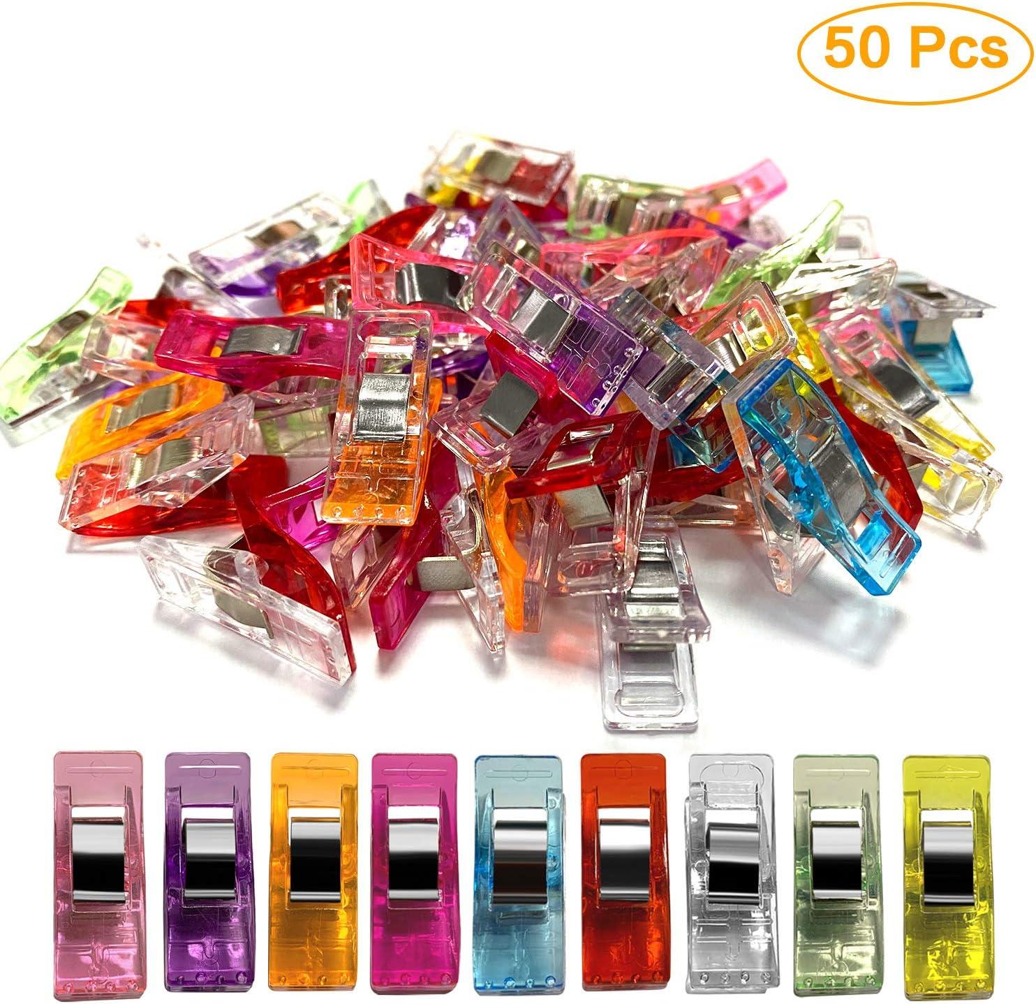 50 St/ück Mehrzweck-Quiltclips zum N/ähen von Craft Clamps Crafting H/äkeln Stricken Crafting Stoff Quilten zuf/ällige Farben Maxure N/ähclips