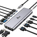 USB C Docking Station Dual Monitor, 14 in 1 USB-C Laptop Docking Station to Dual 4K HDMI,VGA,Ethernet,5 USB,SD/TF Card Reader