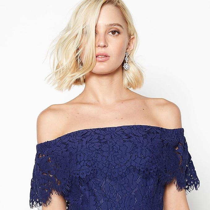 42742047dd8c83 Debut Womens Dark Blue Lace 'Brianna' Bardot Midi Dress 8: Debut:  Amazon.co.uk: Clothing