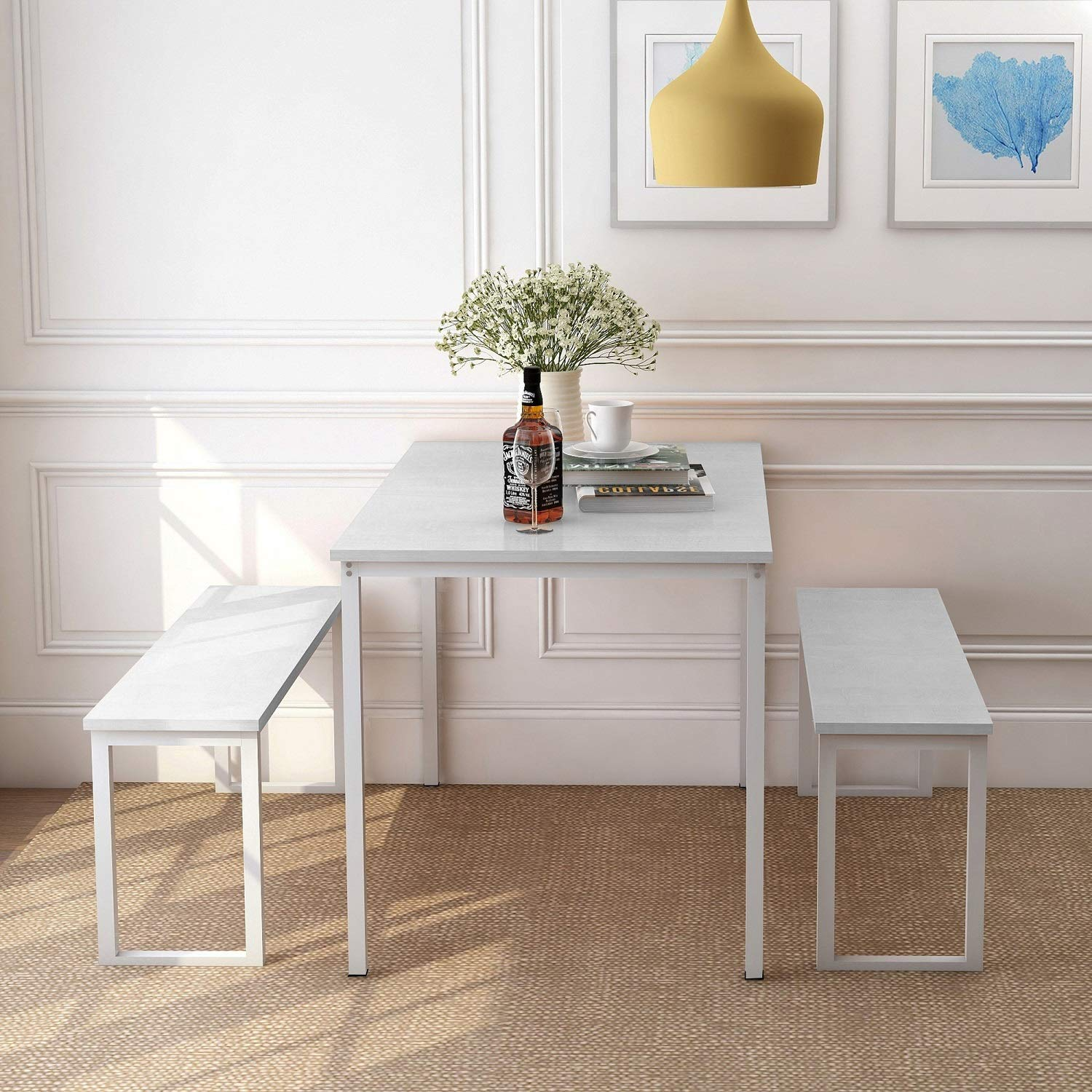 Rhomtree 3 Pieces Dining Set Table with 2 Benches Kitchen Dining Room Furniture 47.6''L x 29.9''W Modern Style Wood Table Top with Metal Frame (White) by Rhomtree