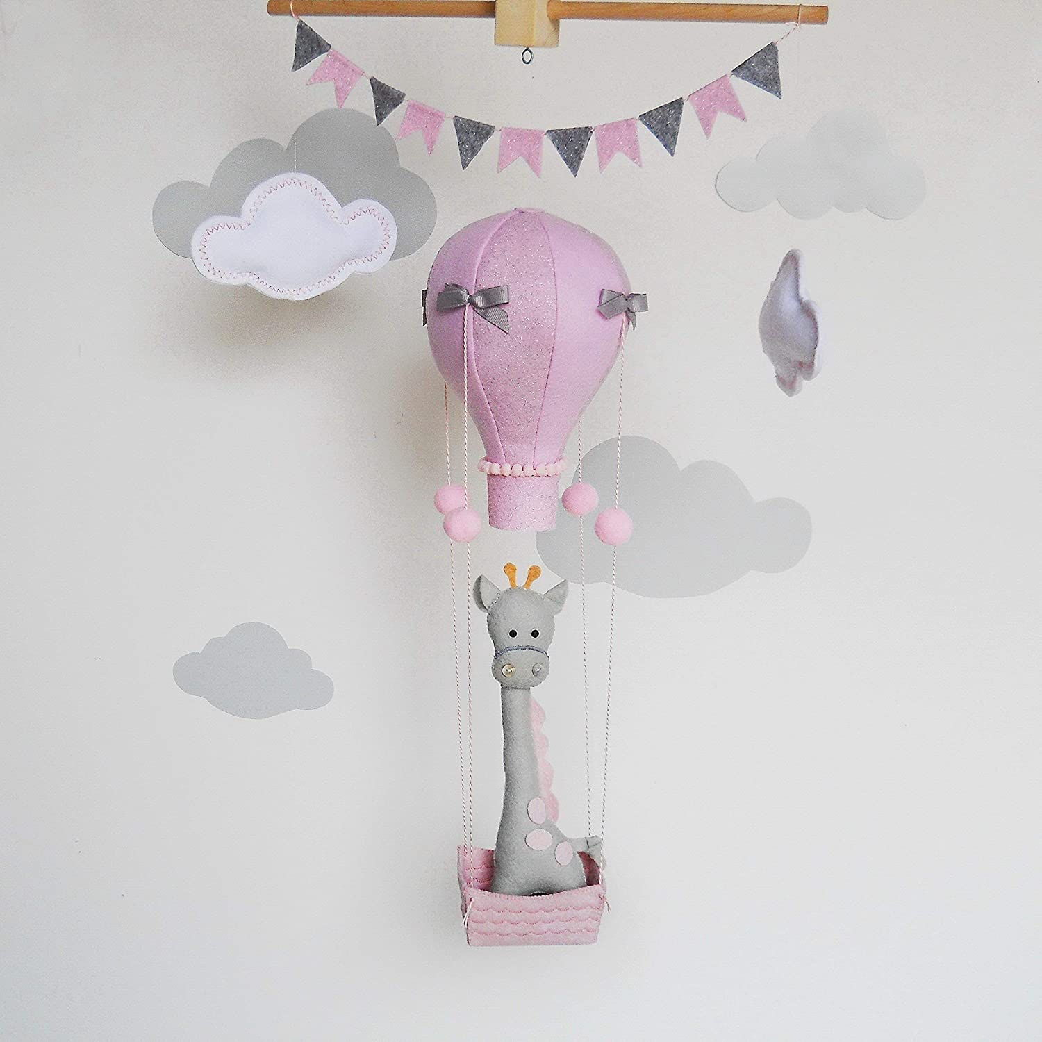 Baby Girl Nursery Decor Amazon.com: Baby mobile girl giraffe in hot air balloon-Nursery decor  giraffe-Felt baby girl mobile-Pink hot air balloon baby girl mobile-Baby  shower gift: ...