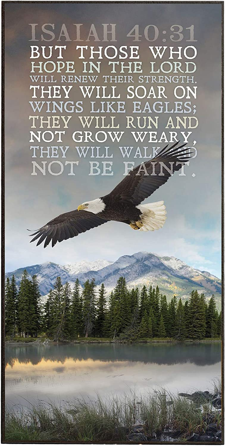 P. Graham Dunn Soar on Wings Like Eagles 16 x 8 Wood Wall Art Sign Plaque