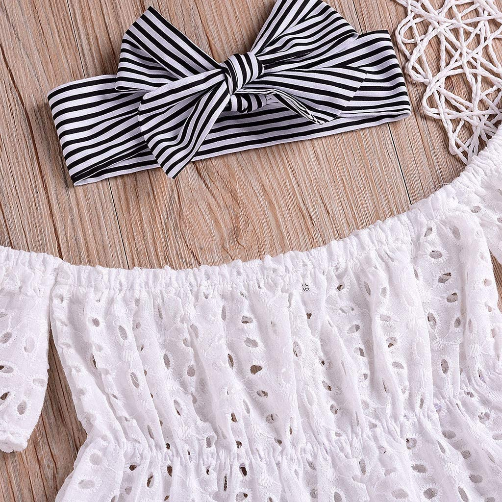 Sagton Infant Baby Girls Off Shoulder Solid Lace Tops+Striped Shorts+Headband