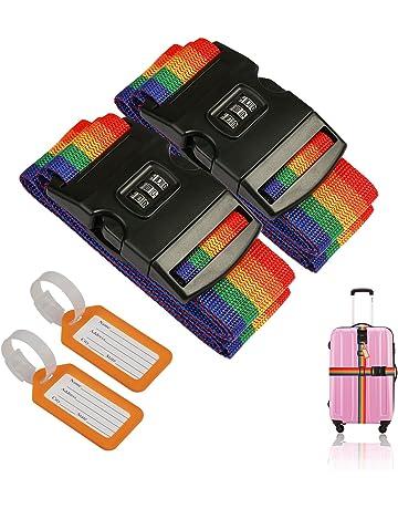 ZoomSky 2pcs Correas de Equipaje de Bloqueo de contraseña de Color Iris de Correa cinturón de