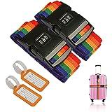 ZoomSky 2 Cinture per valigie arcobaleno luggage Straps con lucchetto a combinazione con fibbia sicura Imballaggio veloce per Etichette Identificatore
