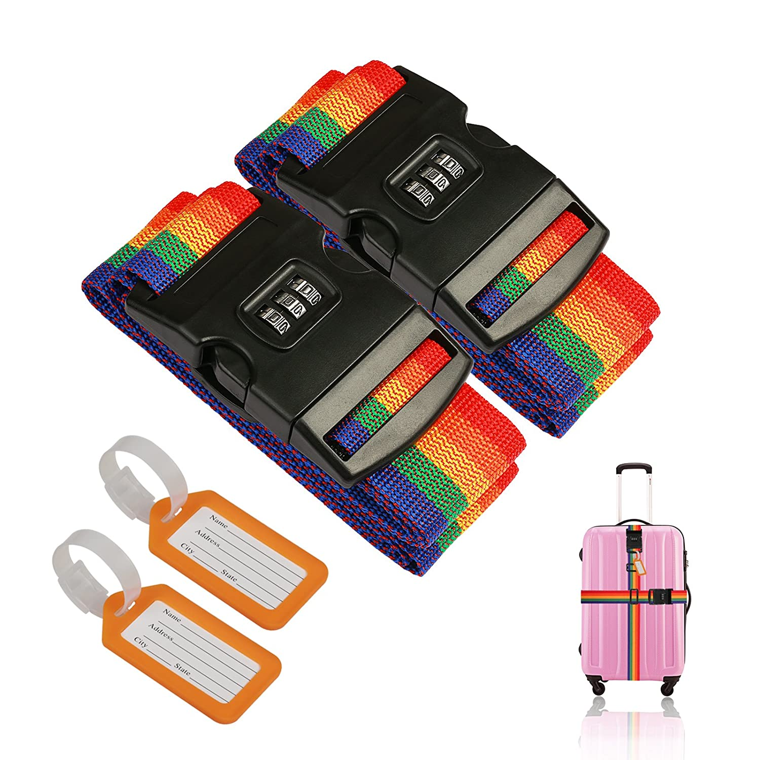 2 Pcs Luggage Strap ZoomSky Suitcase Belts Adjustable Travel Packing Belt Baggage Security Straps with Password Lock Clip and 2 Pcs Luggage Tags Labels Identifier