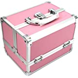 Kscase Aluminium Beauty Cosmetic Vanity Case Cosmetic Box with Mirror 205X155X155 MM Pink