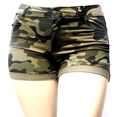dfca2c5008a Womens Plus Size Army Green Camouflage Shorts Stretch Twill Denim Jeans at  Amazon Women s Clothing store