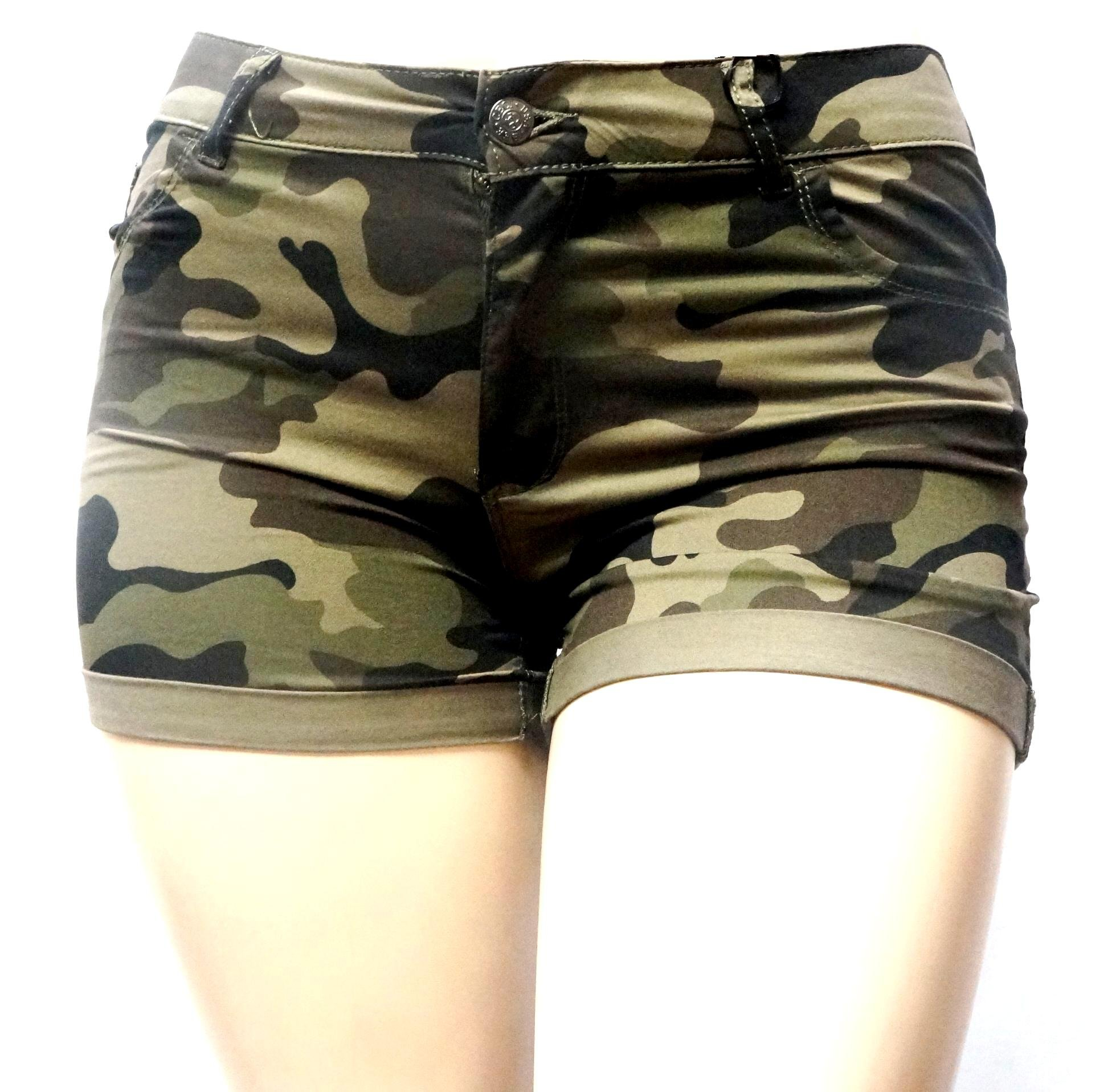 Womens Plus Size Army Green Camouflage Shorts Stretch Twill Denim Jeans (22, Green Camouflage)