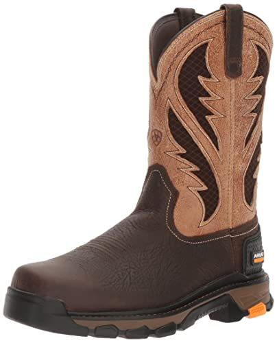 Men's Ariat Workhog Wide Square Toe H2O Composite Toe Boot, Size: 9.5 2E, Oily Distressed Brown Full Grain Leather