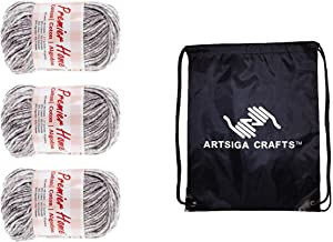 Premier Knitting Yarn Home Cotton Multi Grey Splash 3-Skein Factory Pack (Same Dye Lot) 44-20 Bundle with 1 Artsiga Crafts Project Bag