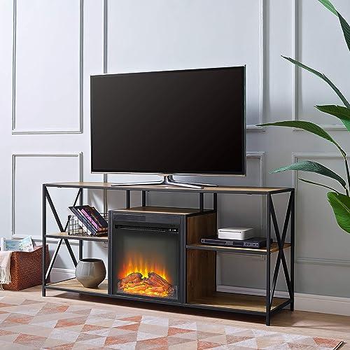 WE Furniture Fireplace TV Stand, 60 , Barnwood