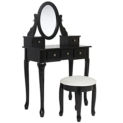 Best Choice Products Bathroom Vanity Table Set Makeup Desk Hair Dressing  Organizer Black