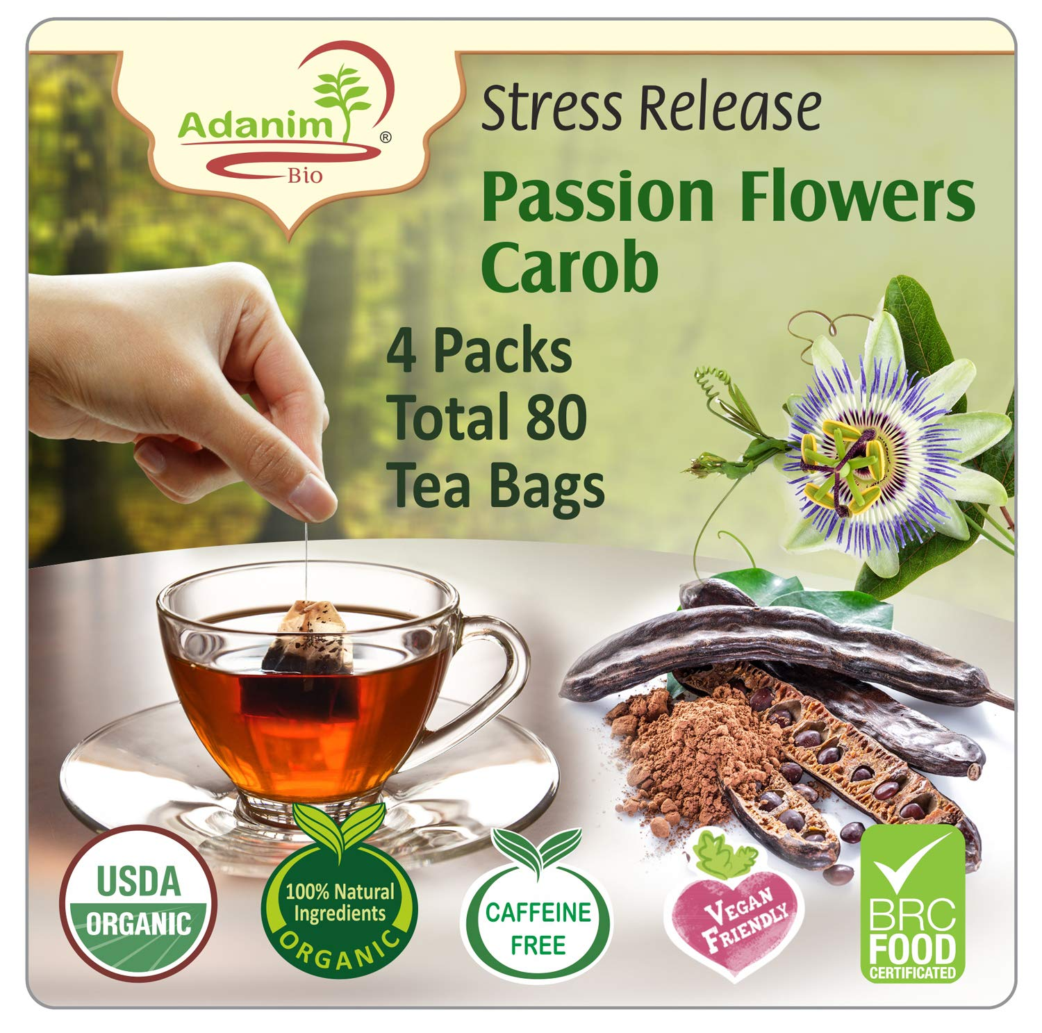 Adanim Bio Organic Passion Flower Tea Bags (Pack of 4) Stress Relief, Anxiety Release, Calming Blend - Passionflower Herbal Tea for Sleep