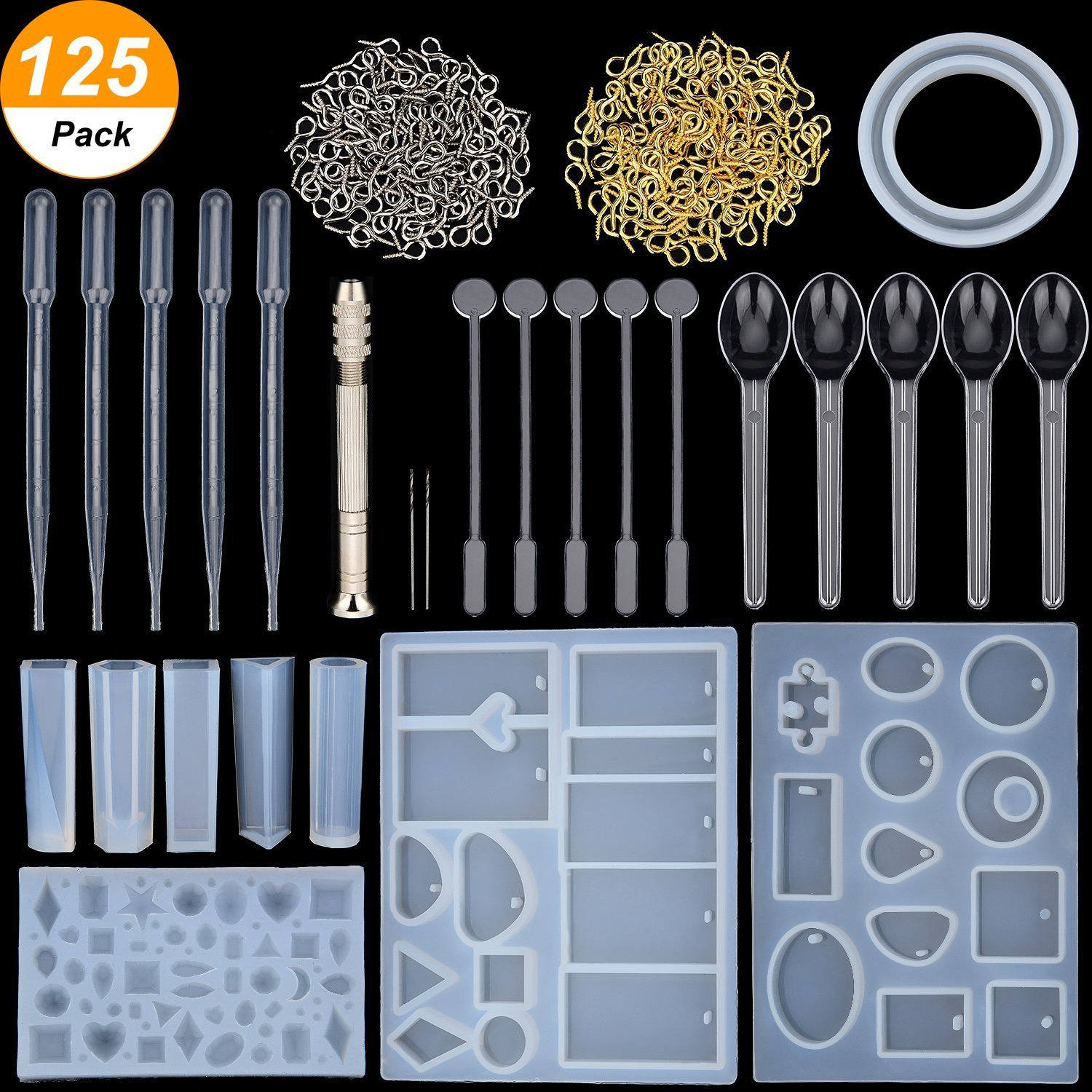 Resin Casting Molds and Tools Set, Include Assorted Styles Silicone Molds, Stirrers, Droppers, Spoons, Hand Twist Drill and Screw Eye Pins for Pendant Jewelry Making, 125 Pieces Totally KisSealed Jewelry-Making Kits-125