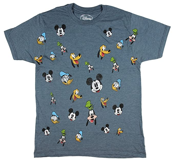 6bf5a33e Disney Men's Mickey and Friends Faces Distressed Print Heather T-Shirt  (Small)