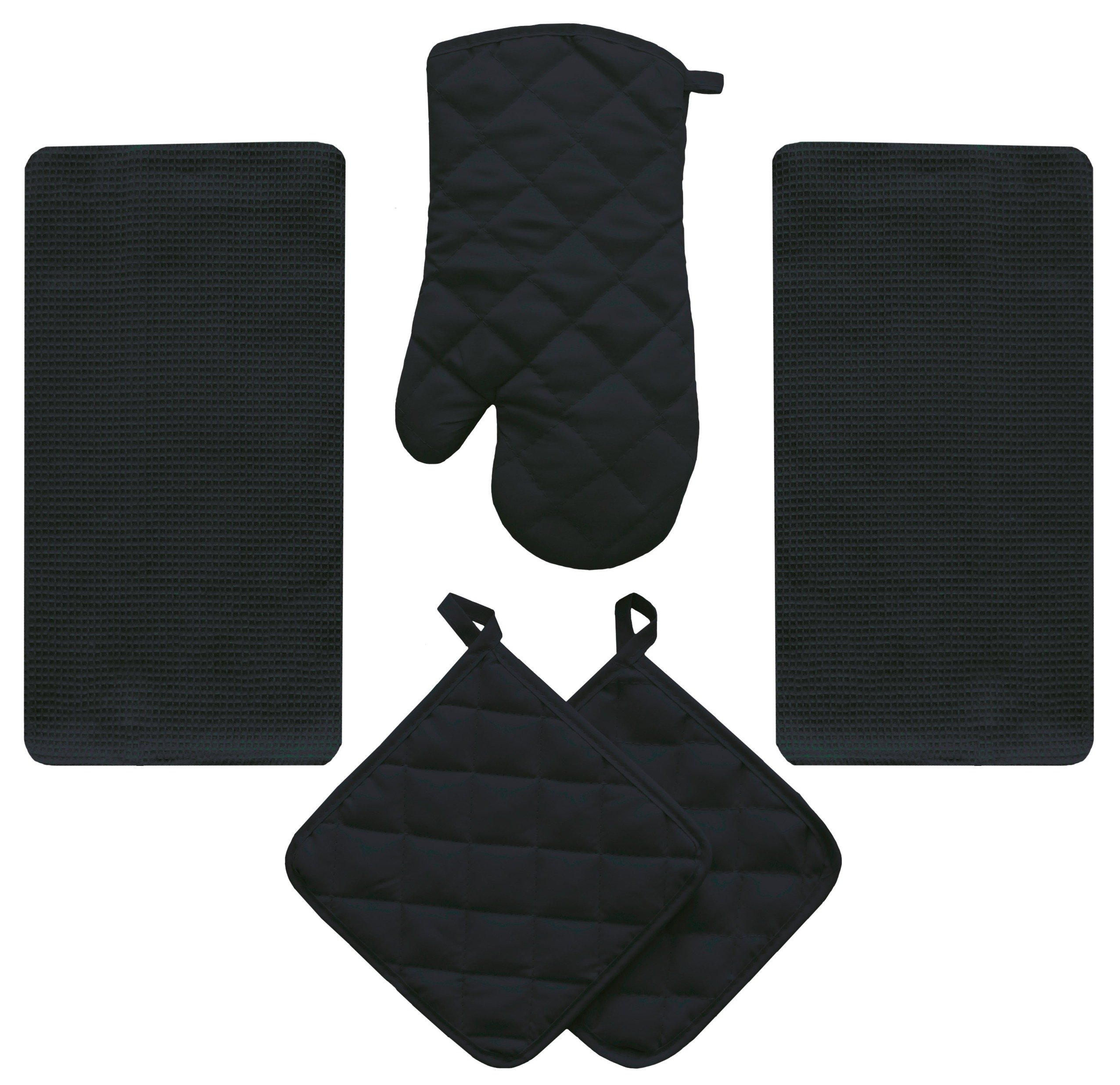 5 Piece Midnight Black Kitchen Linen Towel Set Solid Colors Heavy Weight Cotton With Potholder Oven Mitt