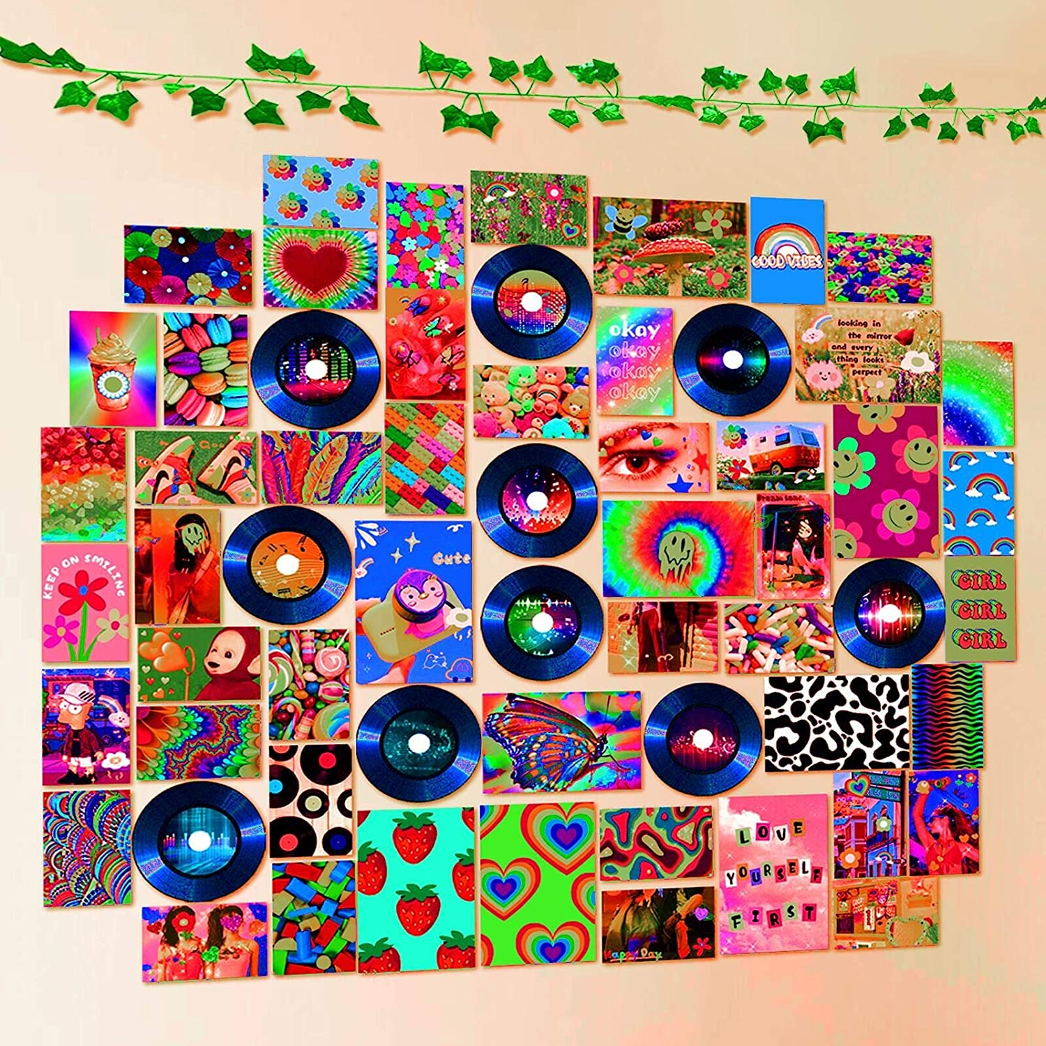 Room Decor for Bedroom Aesthetic - Indie Wall Photo Collage Kit 61pcs Posters Images Records Artificial Vines - Trippy Cute Room Decorations Vibes for Teen Girls Kidcore