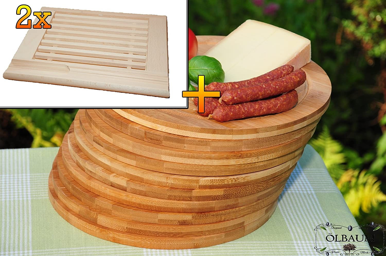 Frühstücks-Servierbrettbrett, Buche, 2 Stück - massive, hochwertige ca. 24 mm starke Picknick Grill-Holzbrett mit Krümelfach natur mit abgerundeten Kanten, Maße viereckig je ca. 36 cm x 29 cm & 10 mal Schneidebrett - massive, hochwertige ca. 12 mm starke Picknick Grill-Holzbretter mit Rillung natur, dunkles Bambus, Maße rund je ca. 25 cm Durchmesser als Bruschetta-Servierbrett, Brotzeitbretter, Steakteller schinkenbrett rustikal, Schinkenteller von BTV