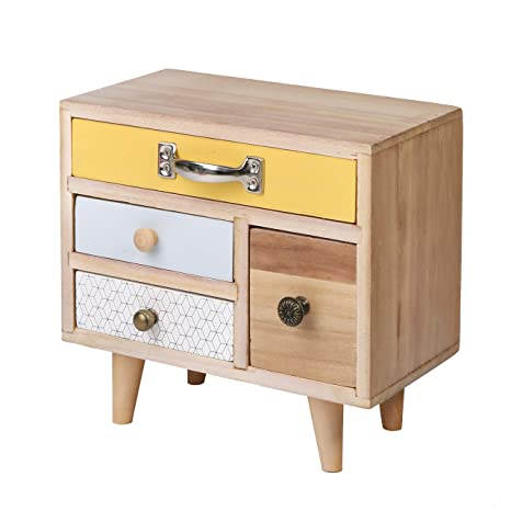 SLPR Desk Organizer With 4 Drawers | Small Decorative Natural Wooden  Storage Cabinet For Make Up