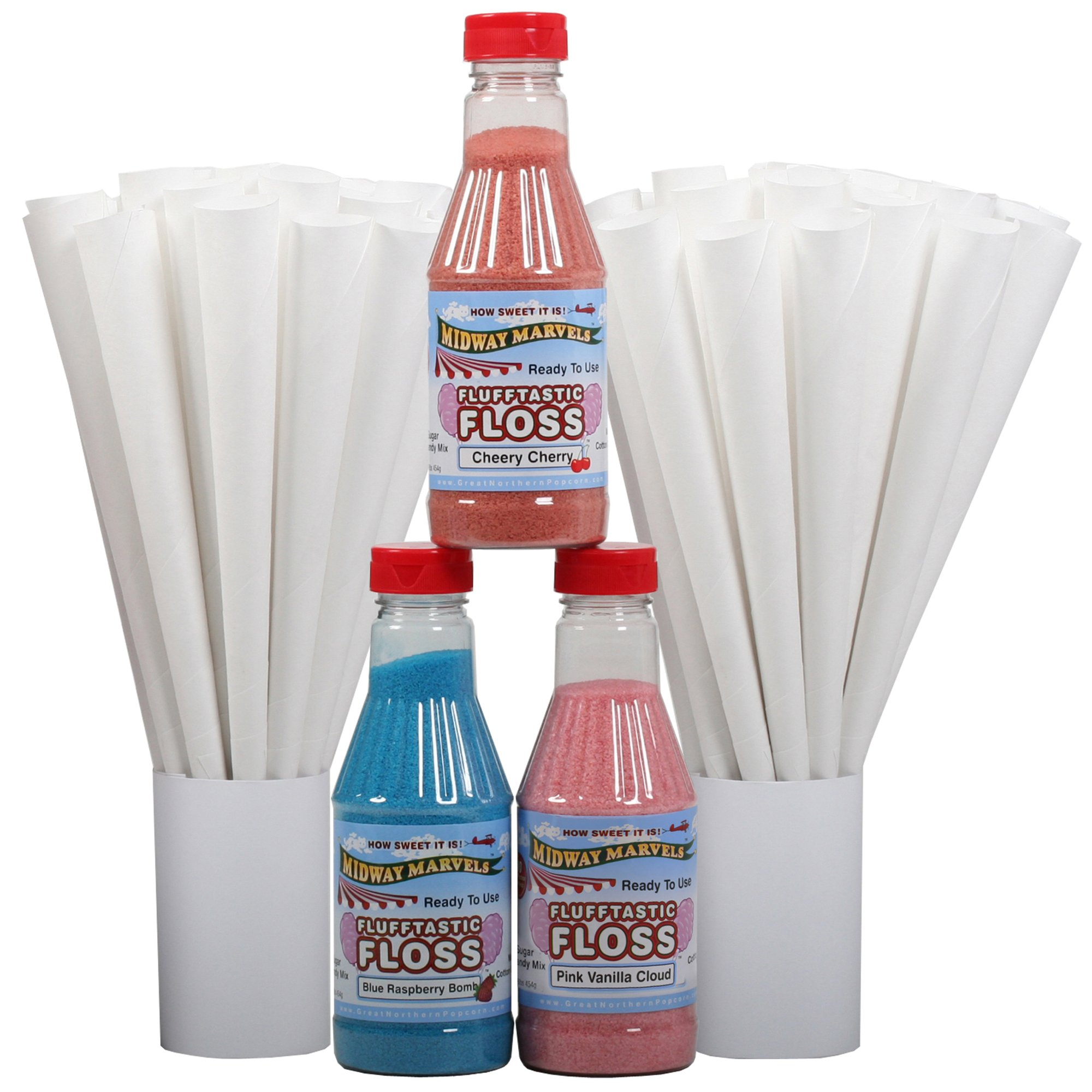 Great Northern Popcorn Company Flufftastic 3 Flavor Party Pack Premium Cotton Candy Floss w/50 Cones, Pint