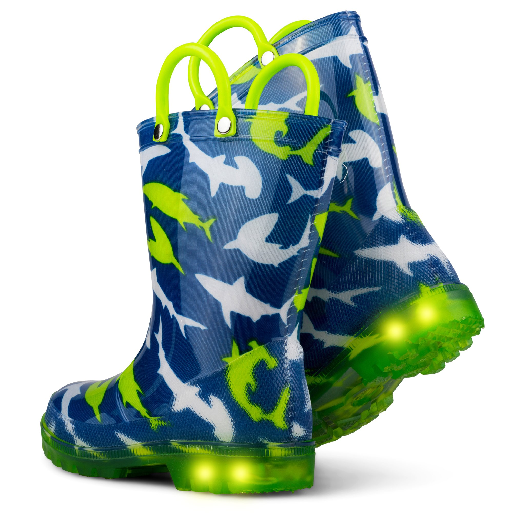 Chillipop Light Up Rainboots for Boys, Girls and Toddlers with Fun Kid Prints with ''5 Lights'' Shark Blue 7 M Toddler by Chillipop (Image #5)