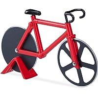 Relaxdays Tagliapizza bicicletta divertente rotella per pizza a forma di bici cutter da cucina tagliapasta vari colori