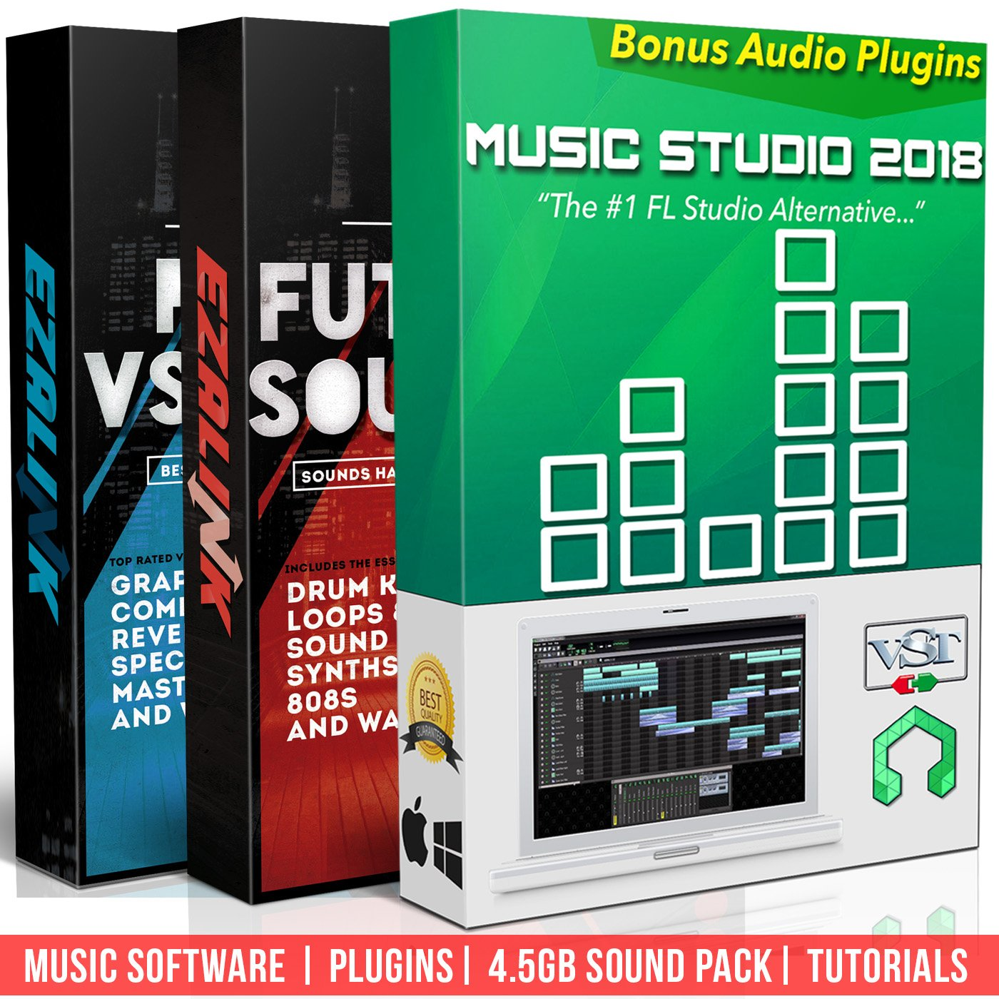 Beat Making Music Software Pro Pack - Best Music Production DAW + 5Gb of Sounds & Audio Plugins for Windows PC & MAC (2 Disc Set) Music Studio