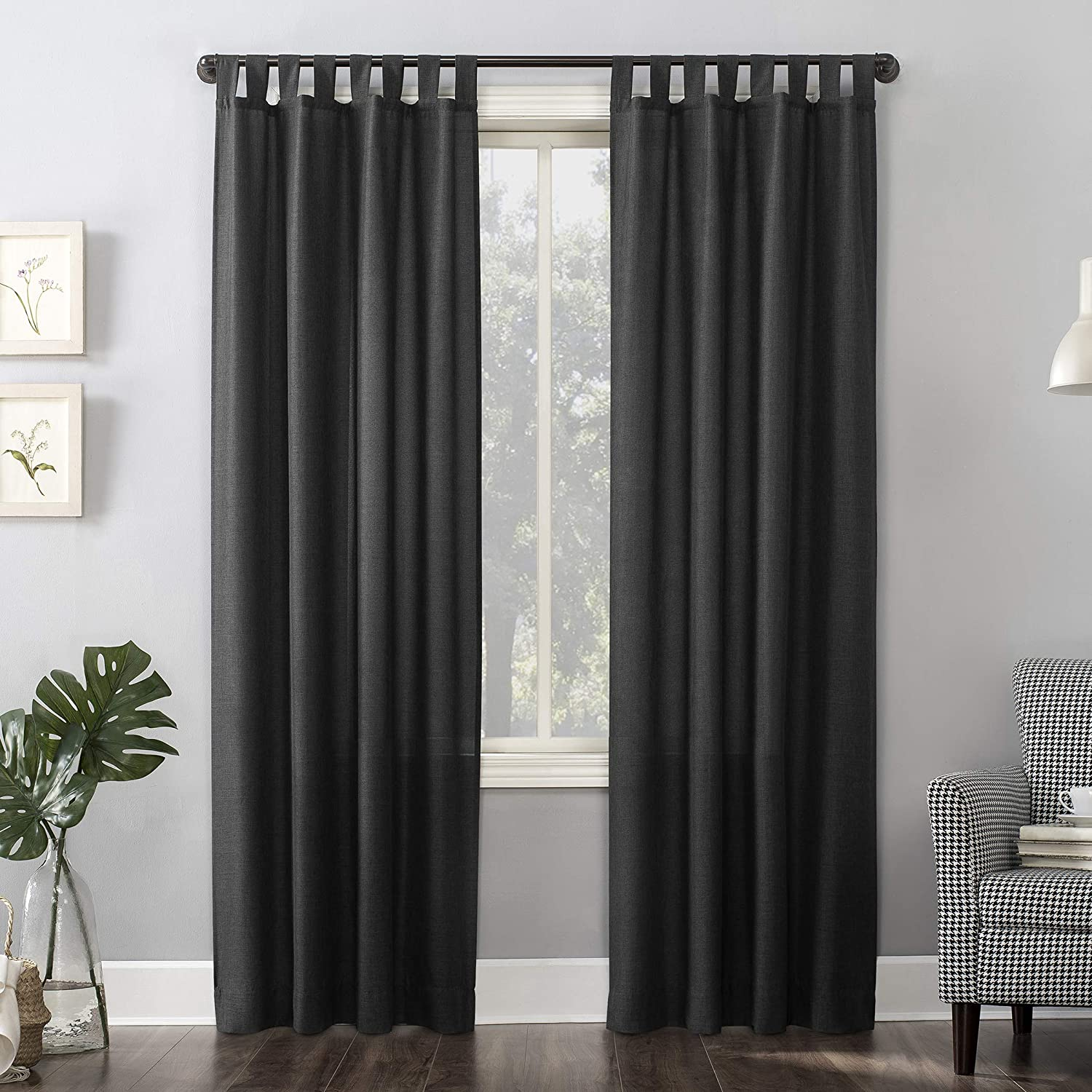 No 918 Trevor Heathered Texture Semi Sheer Tab Top Curtain Panel 40 X 84 Coal Gray Home Kitchen Amazon Com