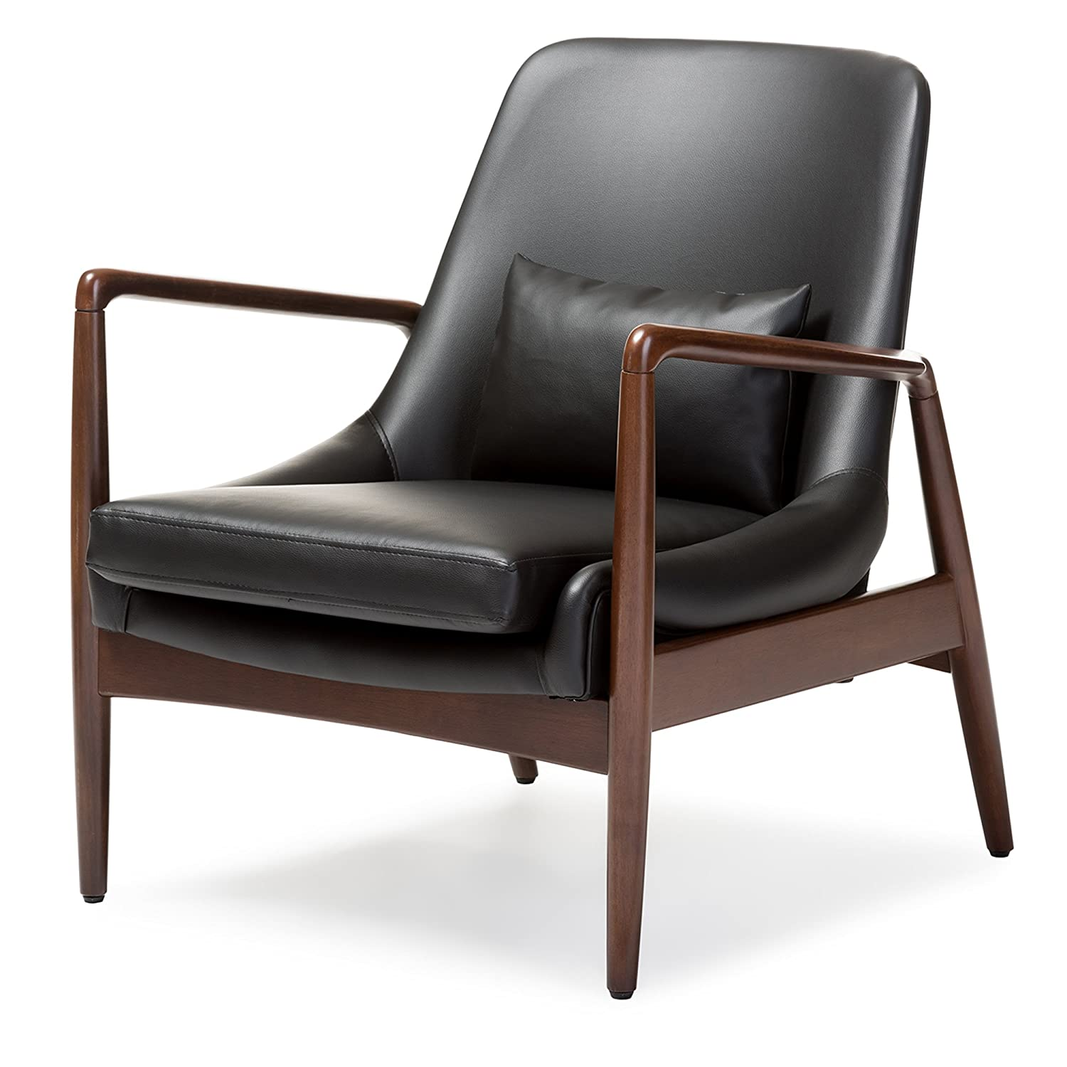 wood frame accent chairs. Amazon.com: Baxton Studio Carter Mid-Century Modern Retro Faux Leather Upholstered Walnut Wood Frame Leisure Accent Chair, Medium, Black: Kitchen \u0026 Dining Chairs R