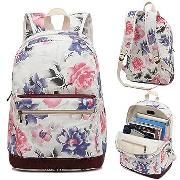 a4b822845c98 Kenox Girl s School Rucksack College Bookbag Lady Travel Backpack 14Inch  Laptop Bag (White-Floral