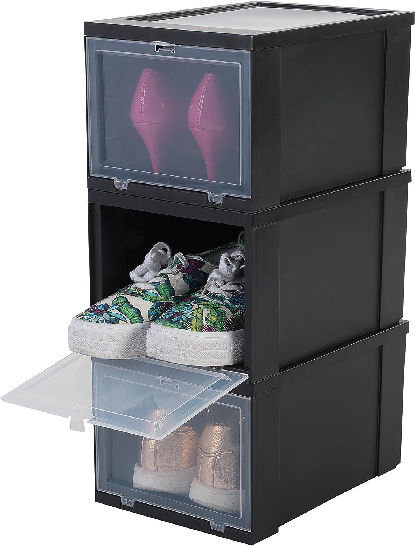 Iris Ohyama Shoes Box EUDF-S Lote de 3 Cajas de Almacenamiento para los Zapatos, Negra, 9 L, 31 x 22 x 18 cm