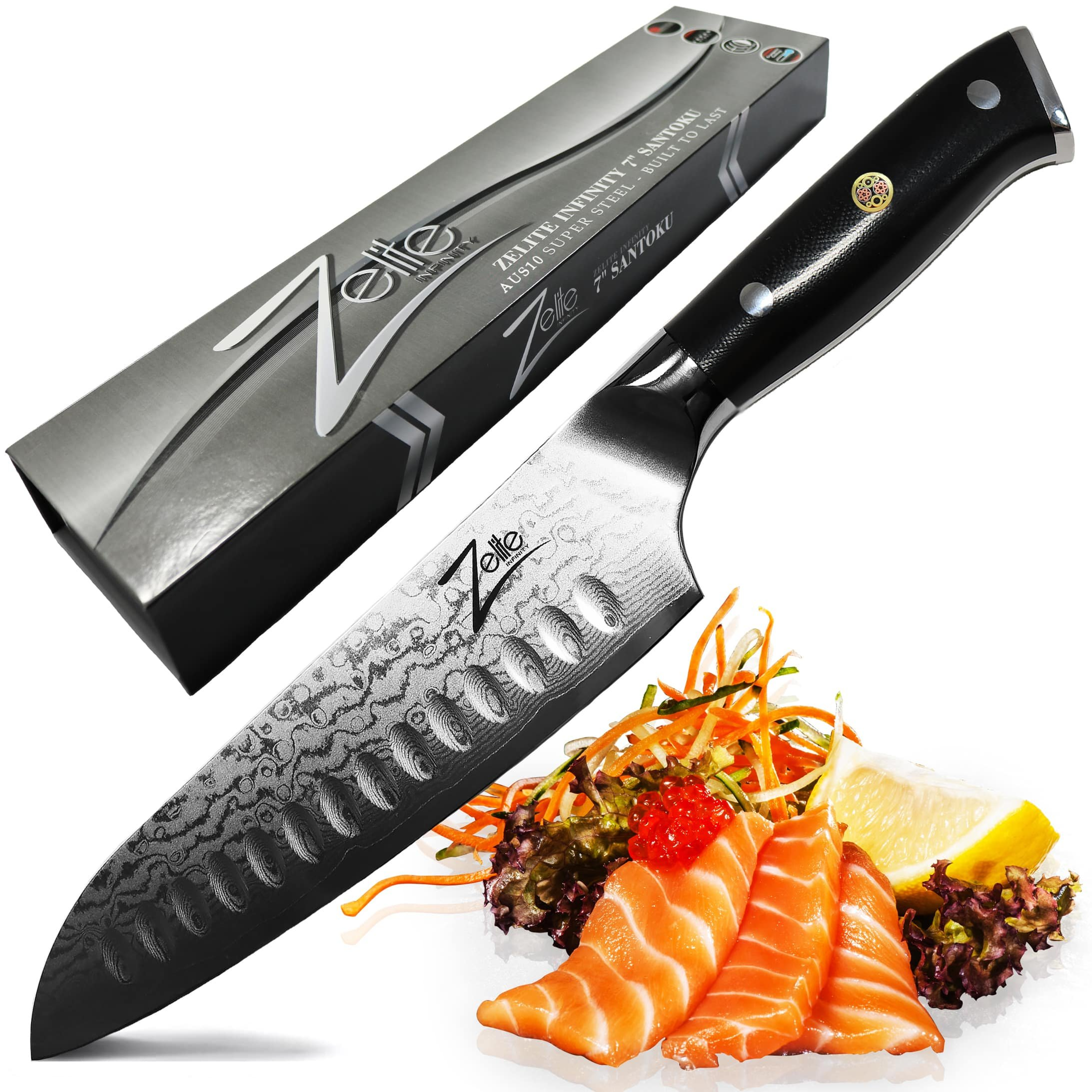 ZELITE INFINITY Santoku Knife 7 Inch - Alpha-Royal Series - Best Quality Japanese VG10 Super Steel 67 Layer High Carbon Stainless Steel, Incredible G10 Handle, Full-tang, Razor Sharp Chef Blade