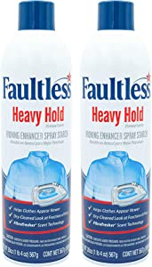 Laundry Starch Spray, Faultless Heavy Spray Starch 20 oz Cans for a Smooth Iron Glide on Clothes & Fabric Even Spray, Easy Iron Glide, No Reside (Pack of 2)