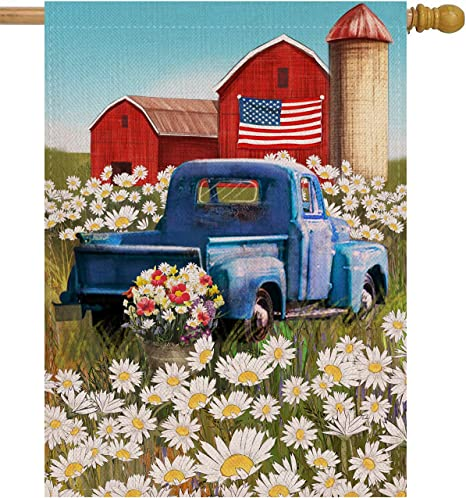 Home Decorative Seasonal Outdoor Décor Large Flag 28 X 40 Spring Summer Love Valentines Day House Red Truck Burlap Yard Decoration Dyrenson Tulips Flower House Flag Double Sided Welcome Quote Flags Outdoor Décor