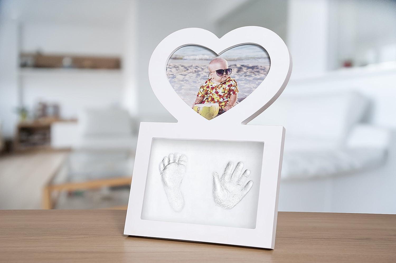 und Fu/ßabdruck Set mit hochwertigem Herz-Bilderrahmen f/ür M/ädchen und Jungen Baby Hand